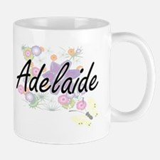 Adelaide Artistic Name Design with Flowers Mugs