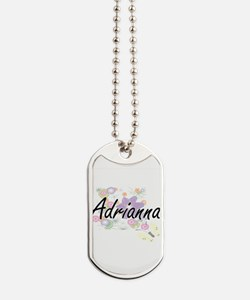 Adrianna Artistic Name Design with Flower Dog Tags