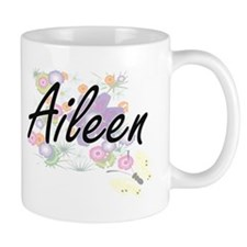 Aileen Artistic Name Design with Flowers Mugs