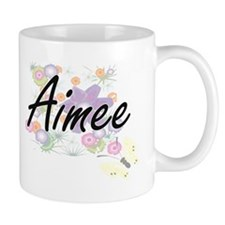 Aimee Artistic Name Design with Flowers Mugs