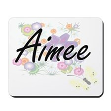 Aimee Artistic Name Design with Flowers Mousepad