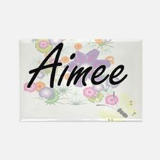 Aimee Artistic Name Design with Flowers Magnets