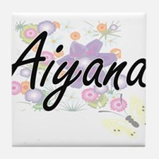 Aiyana Artistic Name Design with Flow Tile Coaster