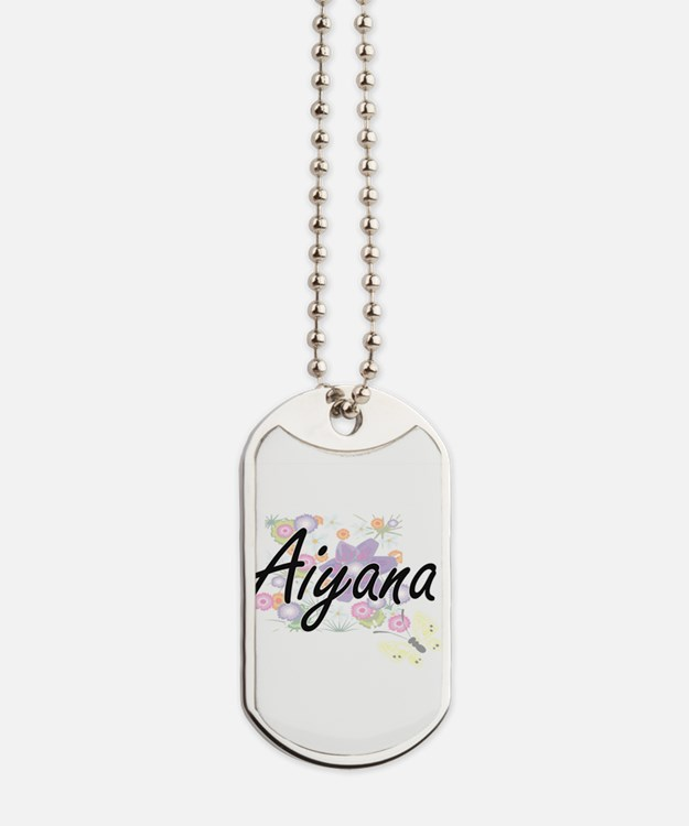 Aiyana Artistic Name Design with Flowers Dog Tags