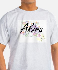 Akira Artistic Name Design with Flowers T-Shirt