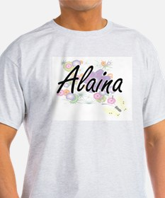 Alaina Artistic Name Design with Flowers T-Shirt