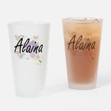 Alaina Artistic Name Design with Fl Drinking Glass
