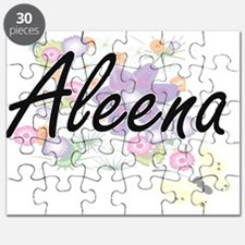 Aleena Artistic Name Design with Flowers Puzzle