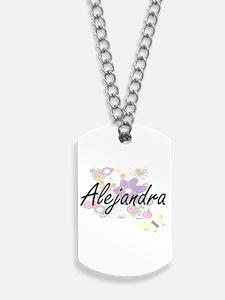 Alejandra Artistic Name Design with Flowe Dog Tags