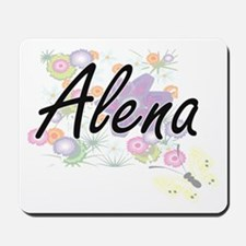 Alena Artistic Name Design with Flowers Mousepad