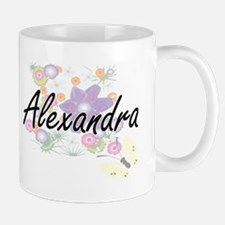 Alexandra Artistic Name Design with Flowers Mugs