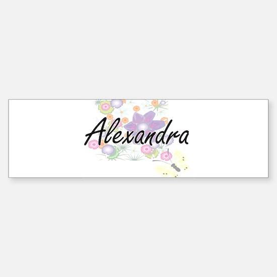 Alexandra Artistic Name Design with Bumper Bumper Bumper Sticker