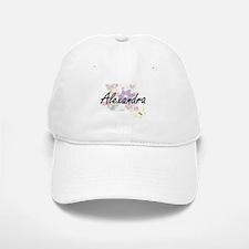 Alexandra Artistic Name Design with Flowers Baseball Baseball Cap