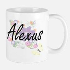 Alexus Artistic Name Design with Flowers Mugs