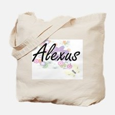 Alexus Artistic Name Design with Flowers Tote Bag