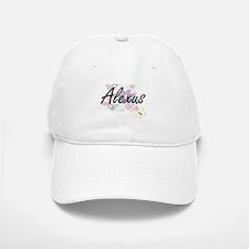 Alexus Artistic Name Design with Flowers Baseball Baseball Cap