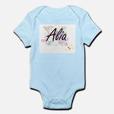 Alia Artistic Name Design with Flowers Body Suit