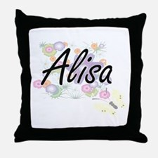 Alisa Artistic Name Design with Flowe Throw Pillow