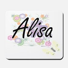 Alisa Artistic Name Design with Flowers Mousepad