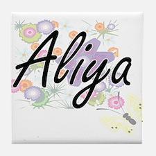 Aliya Artistic Name Design with Flowe Tile Coaster