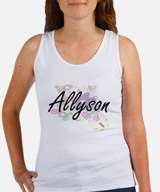 Allyson Artistic Name Design with Flowers Tank Top