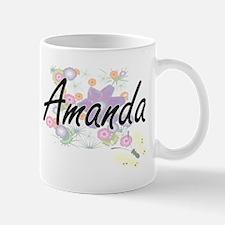 Amanda Artistic Name Design with Flowers Mugs