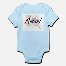 Amani Artistic Name Design with Flowers Body Suit
