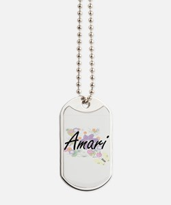 Amari Artistic Name Design with Flowers Dog Tags
