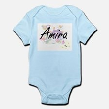 Amira Artistic Name Design with Flowers Body Suit
