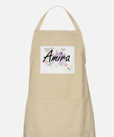 Amira Artistic Name Design with Flowers Apron