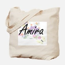 Amira Artistic Name Design with Flowers Tote Bag