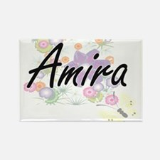 Amira Artistic Name Design with Flowers Magnets