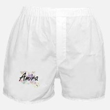 Amira Artistic Name Design with Flowe Boxer Shorts