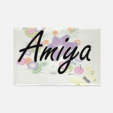 Amiya Artistic Name Design with Flowers Magnets