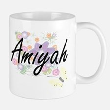 Amiyah Artistic Name Design with Flowers Mugs