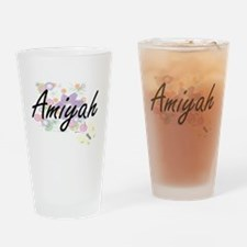 Amiyah Artistic Name Design with Fl Drinking Glass