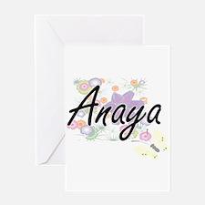 Anaya Artistic Name Design with Flo Greeting Cards
