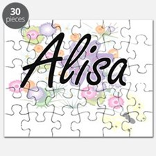 Alisa Artistic Name Design with Flowers Puzzle
