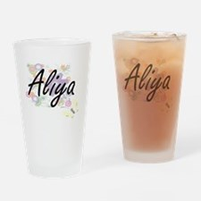 Aliya Artistic Name Design with Flo Drinking Glass