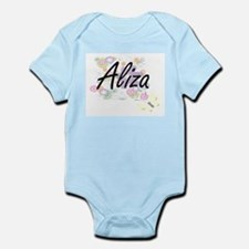 Aliza Artistic Name Design with Flowers Body Suit