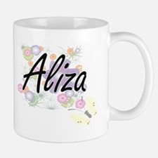 Aliza Artistic Name Design with Flowers Mugs
