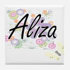 Aliza Artistic Name Design with Flowe Tile Coaster