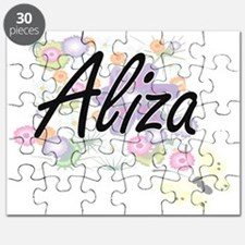 Aliza Artistic Name Design with Flowers Puzzle