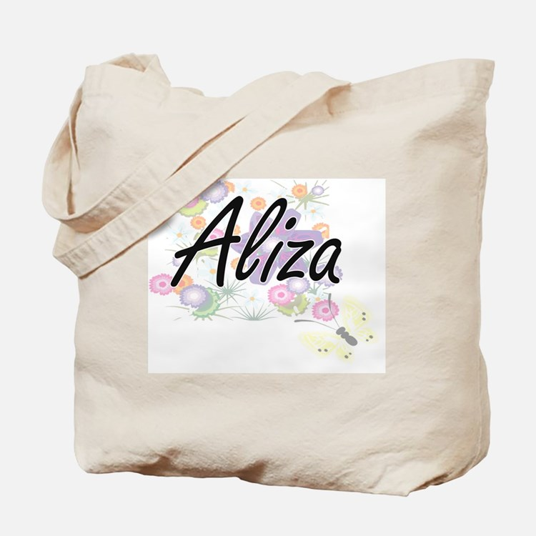 Aliza Artistic Name Design with Flowers Tote Bag