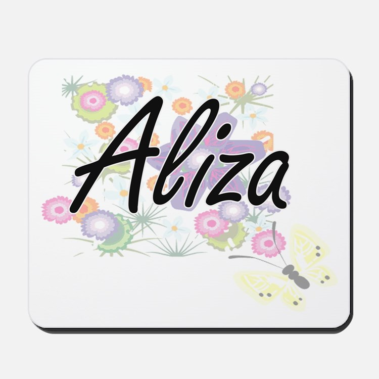 Aliza Artistic Name Design with Flowers Mousepad