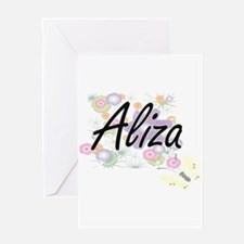 Aliza Artistic Name Design with Flo Greeting Cards