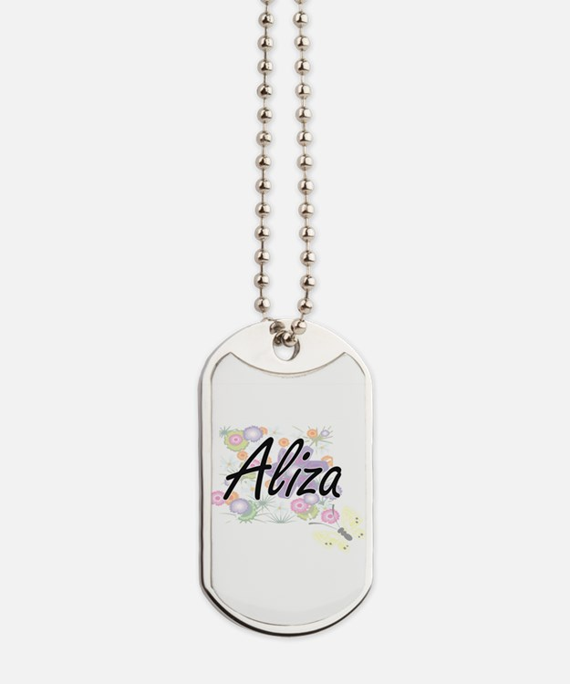 Aliza Artistic Name Design with Flowers Dog Tags