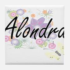 Alondra Artistic Name Design with Flo Tile Coaster