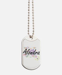 Alondra Artistic Name Design with Flowers Dog Tags