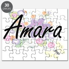 Amara Artistic Name Design with Flowers Puzzle